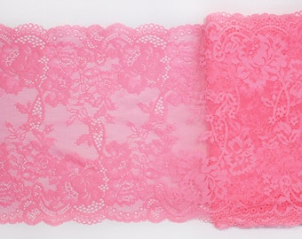 "1 m (1.09 yd) of Stretch lace - Bright Coral - 23 cm (9"") Wide"