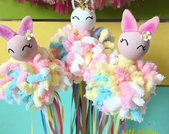 Party Favors,Magic Wands,Ribbon Wands,Peg Doll,Cake Topper,Center Piece,Nursery Decor,Unicorn Wand,Baby Shower,Girls Gift,Wild One Party,ONE