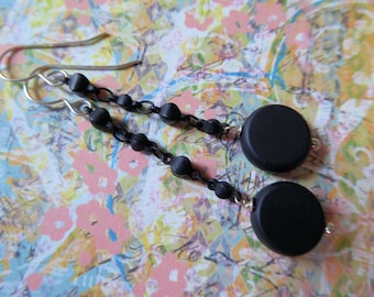 Elegant Long Black Dangle Earrings