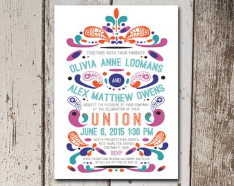 Whimsical wedding invitation with a 60's power print.