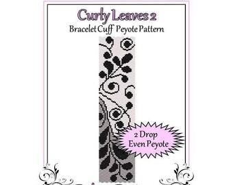 Bead Pattern Peyote(Bracelet Cuff)-Curly Leaves 2