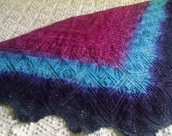 Temple and Arch - handspun, handknit gradient lace shawl