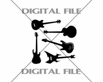 Five Bass Guitars Vector Clipart Vinyl Decal T-shirt Digital Cutting Files ,Svg File, Ai, Eps, PNG