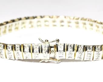 "Beautiful Sterling Silver 3 Row 10ct Princess CZ Tennis Omega Bracelet 8mm 7.5"""