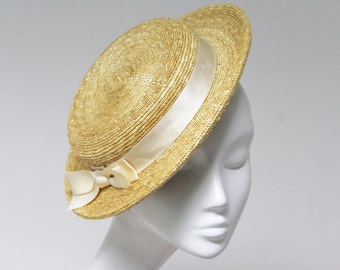 The Chiamaka - Flat Top Boater - Races Fascinator - Straw w/  Silk Ribbon Band  & Bow