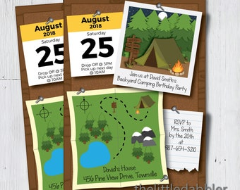 Printable Camping Birthday Party Invitation -- Summer Camp Bulletin Board Boy Scouts Girl Scouts Campfire Camping Sleepover Slumber Party