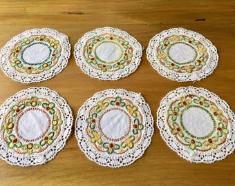 Six embroidered and crochet retro, vintage doilies