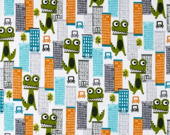 Flannel - Frogzilla Loose in The City Loden from Michael Miller Fabrics by Sarah Jane