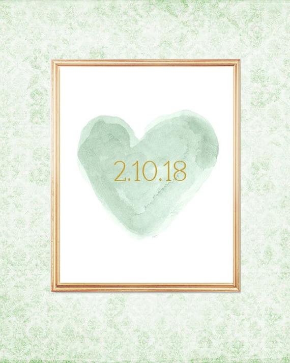 Mint Wedding Gift, 8x10 Print with Wedding Date