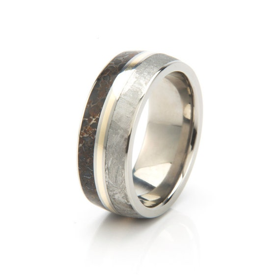 Meteorite Ring Dinosaur Bone Wedding Band With A 14k Yellow Gold Pinstripe Titanium Jewelry For Men Personalized