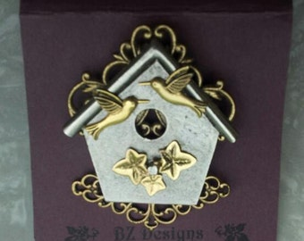 Birdhouse Pin - Bird Watcher Brooch - Mixed metal, Antique Gold and Antique Silver - Studio BZ Original