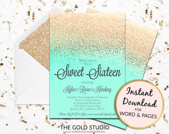 Instant Download Sweet 16 mint green gold glitter invitation sweet sixteen editable template elegant editable in word & pages on PC and Mac