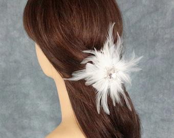 Bridal Clip, Bridal Headpiece, Feather Headpiece, Snowflake Headpiece, Winter Wedding, Bridal Hairclip, Best Friend Bridal144P