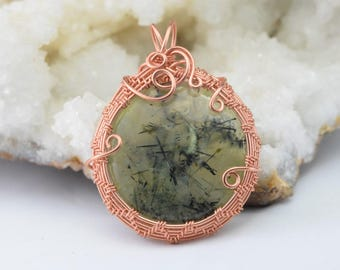 Pendant, Prehnite with Epidote inclusions - Wire Wrap copper wire