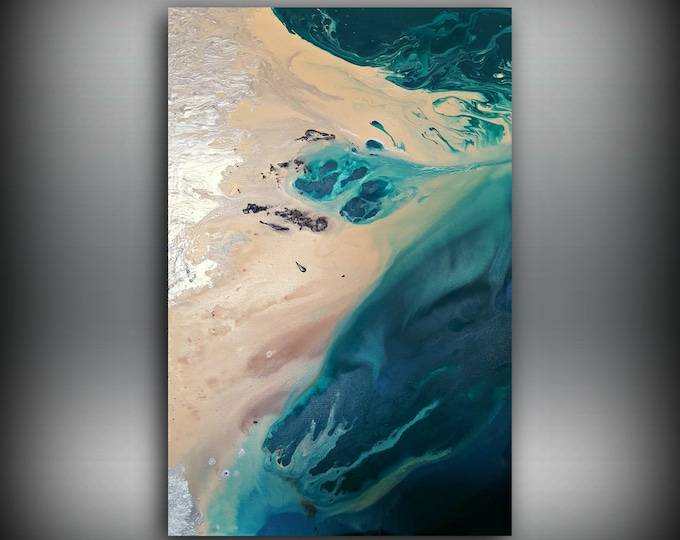 Beach Painting 24 x 36 Abstract Painting Acrylic Painting Abstract Wall Art Large Wall Art Canvas Coastal Home Decor Wall Hanging Canvas