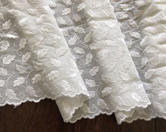 """14.5"""" Wide Wide White Cotton Leaf Embroidered Fabric Lace Trim for Linens Bedding Pillowcase Bed Skirt Ruffle Lingerie Tablecloth Bloomers"""