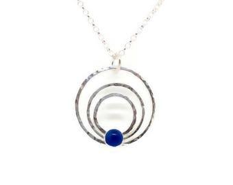 Agate stone necklace, Blue agate necklace, Blue stone necklace, Agate stone pendant, one of a kind, Silver circle necklace, Agate necklace