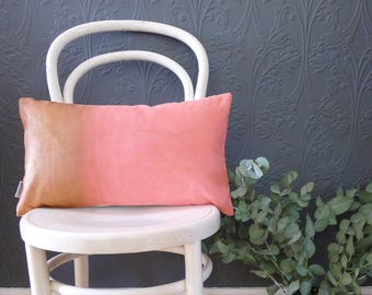 Metallic copper and coral  hand painted cushion cover. Painted Ombre effect. Colour block shiny copper and coral decorative throw pillow