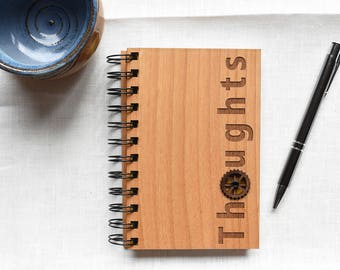 Thoughts Wooden Spiral Journal. Gifts for Men Engraved Wood Notebook.