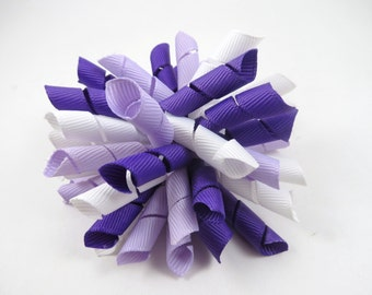 Purple Korker Hair Bow  -  Lavender Hair Bow - White Hair Bow - Korker Hair Clip - Korker Hair Bow - Girl Hair Bow - Purple - Lavender
