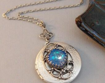 Mermaid Blue,Sapphire,Sapphire Locket,Locket,Antique Locket,Silver Locket,Blue Locket,Blue Necklace,Mermaid,Blue,Green Valleygirldesigns.