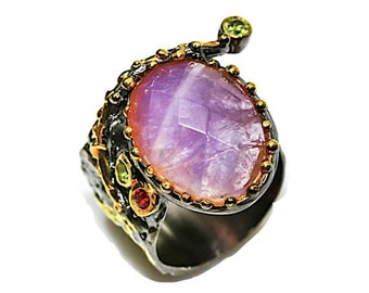 Ring, Amethyst, Garnet and peridot 925 sterling silver size FR 57. Amethyst, garnet and peridot 925 sterling silver ring size 7.75