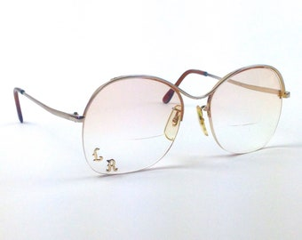 Vintage 60s 70s large mod eye glasses rimless bottom frames bifocals SCRATCHED