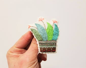 Embroidered Cactus Brooch. Green Bluegreen Succulent. Textile Plant Brooch. Plant Embroidery. Cacti Lovers.