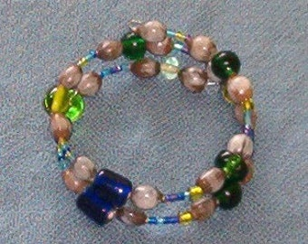 Hawaiian Job's Tears and Blue and Green Glass Beads Bracelet handmade in Hilo Hawaii