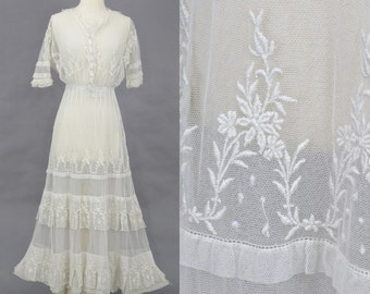 1910s Edwardian Embroidered Net Lace Wedding Dress, Antique Lace Dress, Tiered Bohemian Wedding Dress
