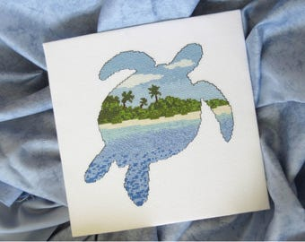 Turtle cross stitch pattern PDF, beach cross stitch silhouette chart, modern embroidery pattern, sea ocean animals, desert island wildlife