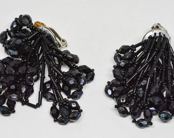 Black tone beaded earrings
