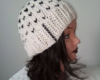 Hat woman, teen, girls knitted wool hat - Handmade knitwear Swarovski rhinestones - beanie - winter clothing - handmade