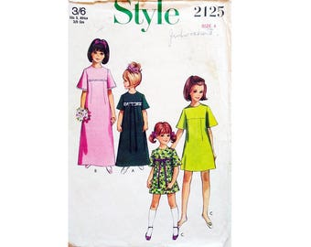 Style 2125 Vintage 1960's Little Girls Day or Flower Girl Bridesmaid Formal Party Dress Sewing pattern in 2 Lengths Age 4