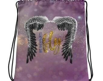 Born to Fly Drawstring bag