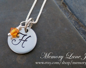 Single Disc Monogrammed Necklace