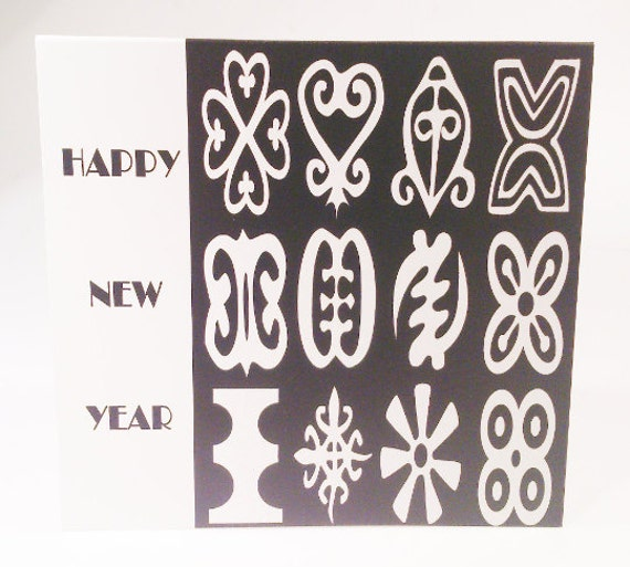 Black and white adinkra greeting card new year card in black and white adinkra greeting card new year card in african languages m4hsunfo