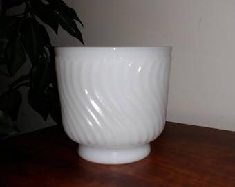 Vintage Napco Milk Glass Swirl Dish/Candy Dish/Planter