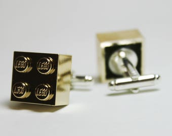 Made from Lego Chrome Gold Brick Cufflinks | retro inspired 80s toys cuff links gifts for dad fathers day groomsmen gift bridal party
