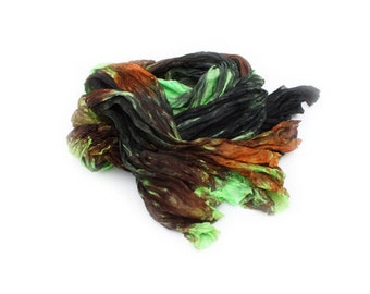 silk scarf - Fabulous Fall  -  green, black, brown silk scarf.