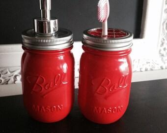 Red Ball Mason Jar Soap Dispenser or Toothbrush Holder