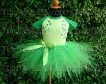 """Poison Ivy Tutu Kostüm Set, Green Ivy Raglan Body & Grün 11"""" Pixie Cut Wirtschaft Tutu Rock für Babys Mädchen gemacht um Harley Quinn zu entsprechen"""