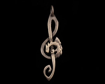 Treble Clef Dragon Pendant