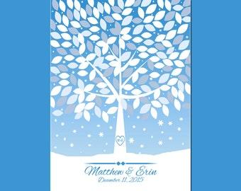 Winter Wedding Signature Tree, Guestbook Alternative, Wedding Tree Guest Book, Wedding Guestbook, 180 Guest Signature Tree