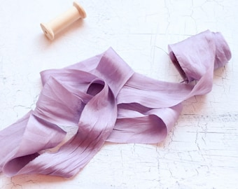 Lilac Silk Ribbon, Bride Silk Ribbon, Hand-dyed silk ribbon, Plant Dyed Silk Ribbon, Wedding Bouquet, Silk Ribbon, Purple Silk Ribbon
