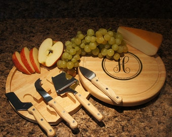 """Personalized Cheese Board & Cutlery Set with Engraved Monogram Options and Font Selection (Each - 10"""" Diameter) Monogrammed Gift"""
