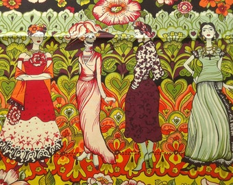 Frida Fabric, La Catrina Eggplant, ALL FIGURES, Foklorico, Alexander Henry, Day of the Dead, Dia de Los Muertos Border Print, 24 INCHES/unit