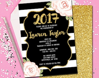 Graduation, Graduation Invitation, Graduation Announcement, Black and Gold, Floral, Gold, Blush, Pink, College, High School, Printable 5x7