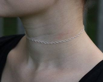 Silver Oval Chain Choker Necklace