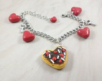 Chocolate Donut Doughnut Heart Valentines Day Bracelet for Girls, Teens, Tweens and Women
